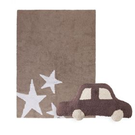 tapis estrellas tricolor marron et coussin car marron lorena canal