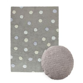 tapis topos tricolor gris et coussin dot gris lorena canal