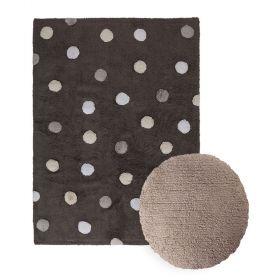 tapis topos tricolor noir et coussin dot marron lorena canal
