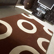 tapis polo en laine marron et beige carving