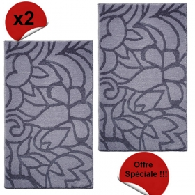 lot de 2 tapis de bain flower shower gris esprit home