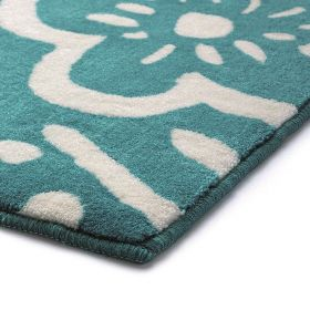 tapis de bain bleu esprit cool flower