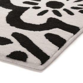 tapis de bain noir et blanc esprit cool flower