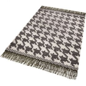 tapis moderne houndstooth noir et blanc