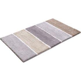 tapis de bain marron esprit block stripe