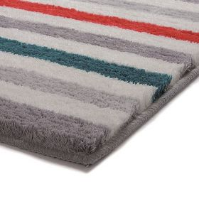 tapis de bain orange esprit line stripe