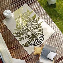 tapis feather moderne beige et vert esprit home