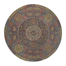 tapis rond mandala esprit home taupe