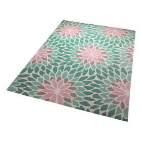 tapis lotus esprit bleu moderne