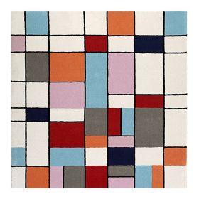 tapis carré moderne esprit buttons multicolore