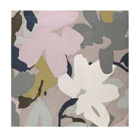 tapis carré taupe bloom moderne esprit