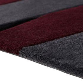 tapis carré moderne esprit lamella rose et taupe