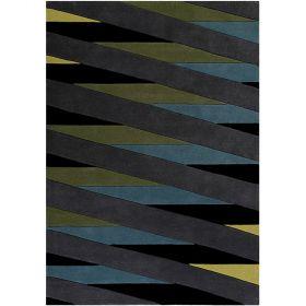 tapis moderne lamella bleu et taupe esprit