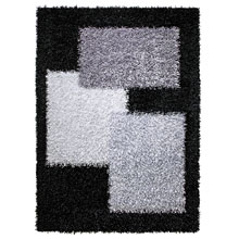 tapis cool glamour noir et gris shaggy esprit home