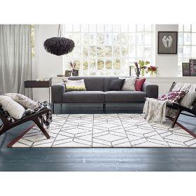 tapis moderne hexagon blanc, gris et bordeaux esprit