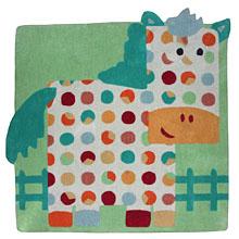 tapis carré pour bébé cheval hector bleu et vert nattiot