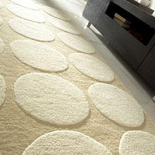 tapis impex carving en laine beige et blanc