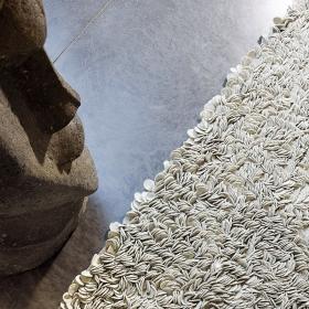 tapis laine feutrée tissé main beige influence ligne pure