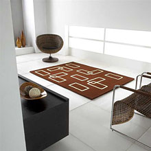 tapis intersection en laine marron carving
