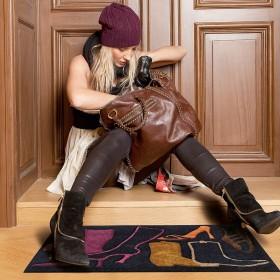 tapis antidérapant walking noir et rose arte espina