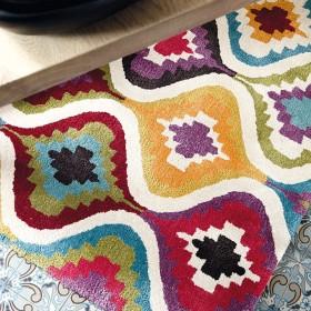 tapis laine tufté main géométrique love ligne pure