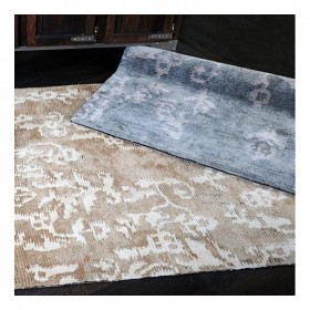 tapis en viscose moylon gris bleu the rug republic