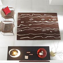 tapis neleafi en laine marron carving