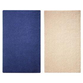 pack tapis de bain bleu et beige 100x60 cm