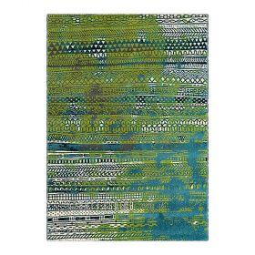 tapis bleu moderne folk arte espina