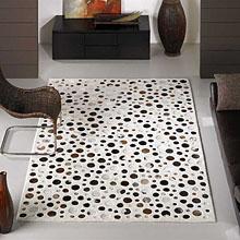 tapis rocking blanc à motifs en peaux carving