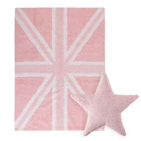 tapis flag england baby rose et coussin stars rose lorena canal