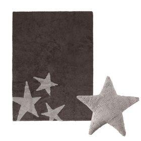 tapis estrellas anthracite et coussin stars gris lorena canal