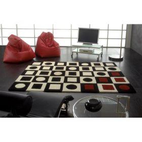 tapis simbols en laine noir, blanc et rouge carving