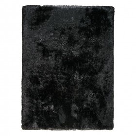 tapis shaggy tissé main adore ligne pure noir