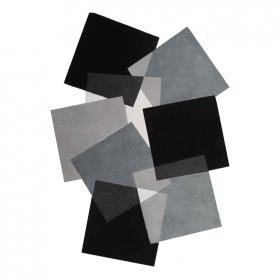 tapis déstructuré pebbles noir et blanc angelo