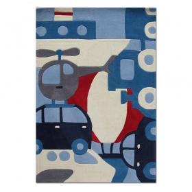 tapis enfant voyage bleu - art for kids
