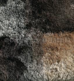 tapis arte espina marron et beige à poil long funky