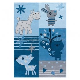 tapis pour enfant motif animaux kids bleu arte espina