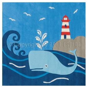 tapis pour garçon glowy baleine fluorescent arte espina