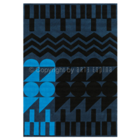tapis tufté main ethno pop bleu arte espina
