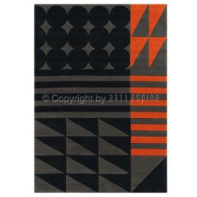 tapis tufté main ethno pop noir et orange arte espina