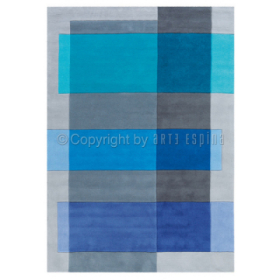 tapis intersection arte espina bleu tufté main