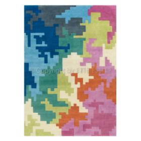 tapis freestyle noué main en laine multicolore arte espina