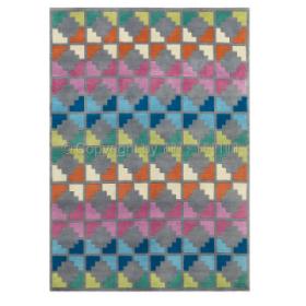 tapis freestyle motif damier multicolore en laine arte espina