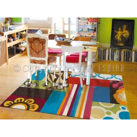 tapis mix match bleu multicolore arte espina tufté main
