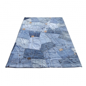 tapis en jean bleu carving back