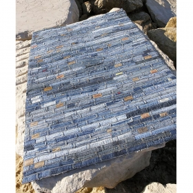 tapis en jean belt bleu carving