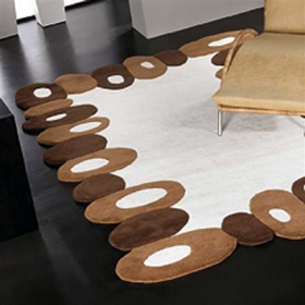 tapis filbert carving en laine marron et blanc