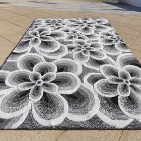 tapis flower carving gris
