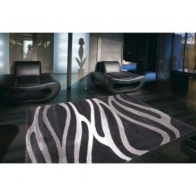 tapis moderne noir et argent arizona wave